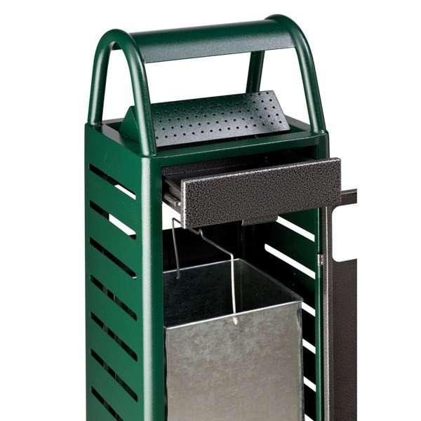 cendrier corbeille Ginevra 29 litres vert - silver martelé